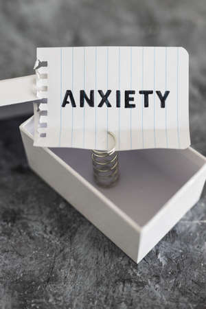 psychology and mental health concept, memo with text Anxiety inside of white box metaphor of mind struggles