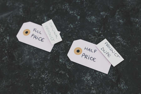concept of imitations and unfair competition, half price vs full price tags with Original vs Dupe product labels