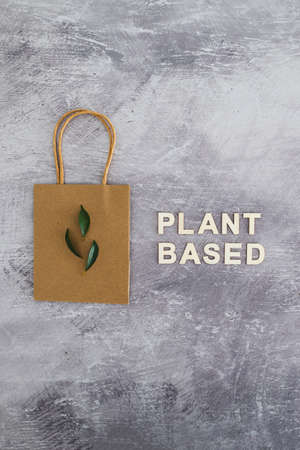 sustainable consumer choices for the environment, plant-based text with shopping bag and leaves on minimalist concreete background 스톡 콘텐츠