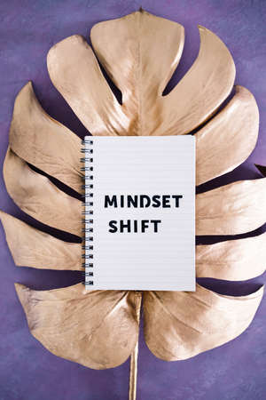 psychology and attitude concept, Mindset shift notepad on top of golden leaf on pink background