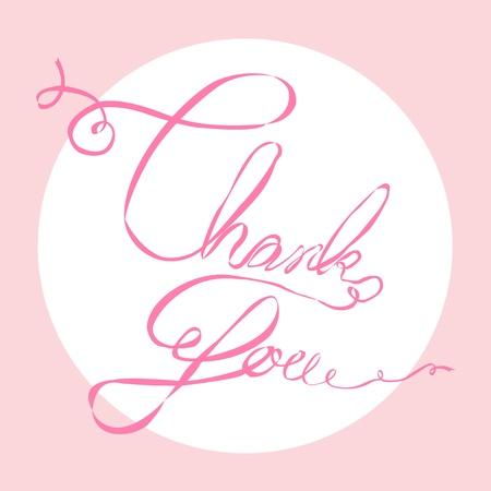 Thank you ribbon lettering Illustration