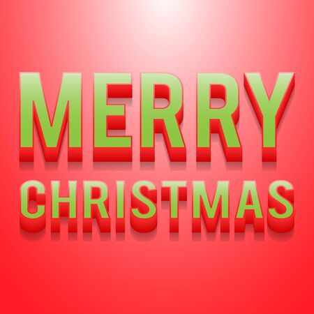 merry christmas card 3d text on red background