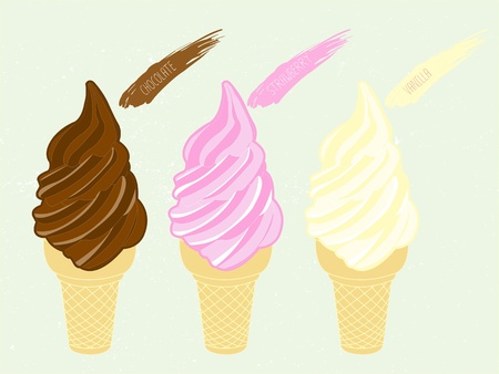 three flavor soft serve ice cream   Illustration