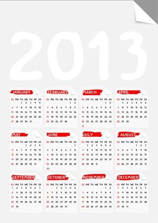 fold corner paper calendar 2013 Stock Vector - 17060714
