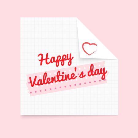 Happy Valentine s Day notepad masking tape Stock Vector - 17144492