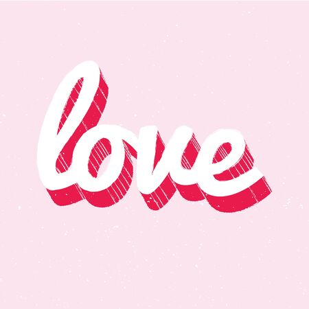 red and white love lettering on pink background
