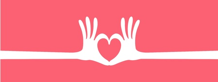 hand heart gesture header Vector