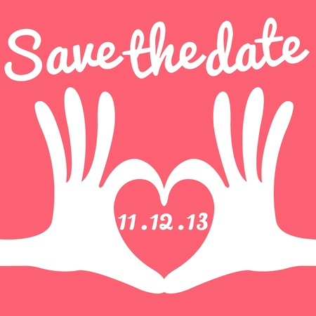 couple date: save the date card hand heart gesture
