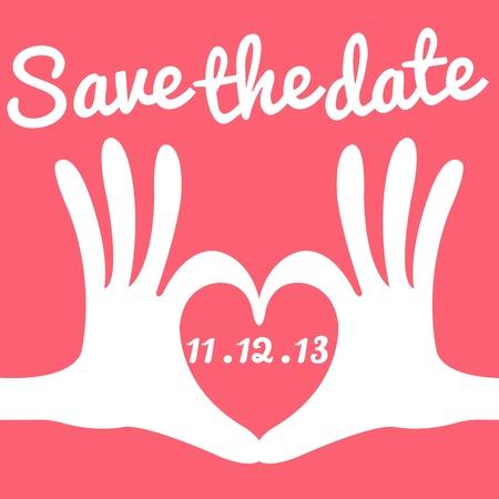 dattel: Save the date-Karten-Hand Herzen Geste Illustration