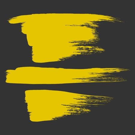three piece gold paint brush element Stock Vector - 17478568