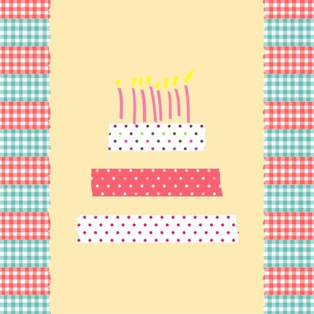 birthday cake card masking tape