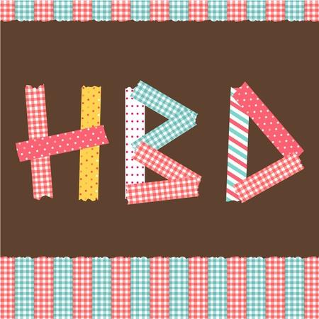 happy birthday card masking tape alphabet Illustration