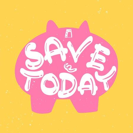 hands behind back: piggy bank save today Illustration