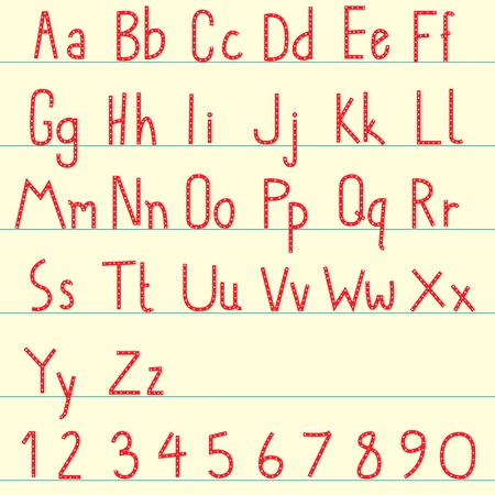 red alphabet set Vector