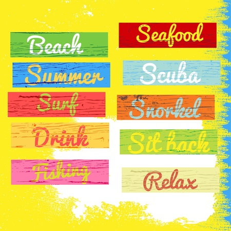 chill out: beach sign wood grunge texture Illustration