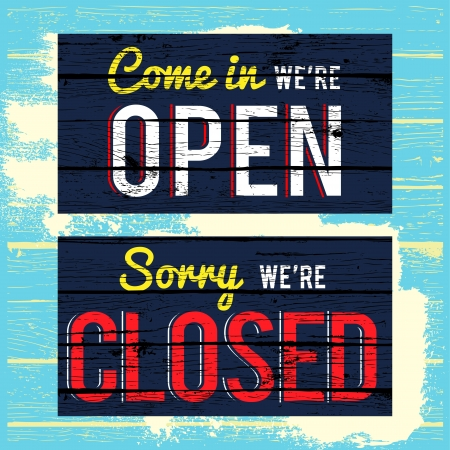 we: open and close wood paint sign  Illustration