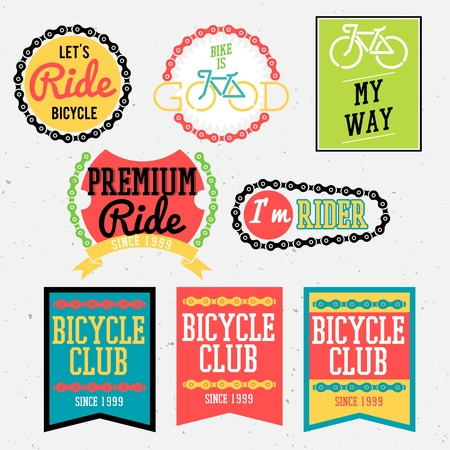 bicycle badges bicycle club badges colorful collection Vector