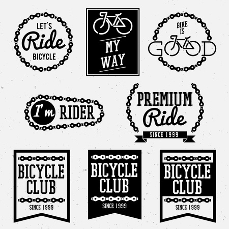 bike ride: bicycle club badges back and white collection