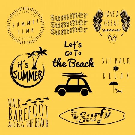 summer typography sticker set Vector
