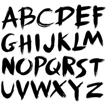cepillo: dibujados a mano de la fuente, el pincel alfabeto carrera, el estilo grunge