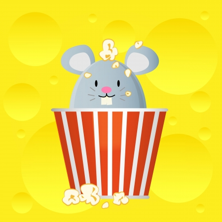 movie popcorn: mouse in popcorn bucket on cheese background Illustration