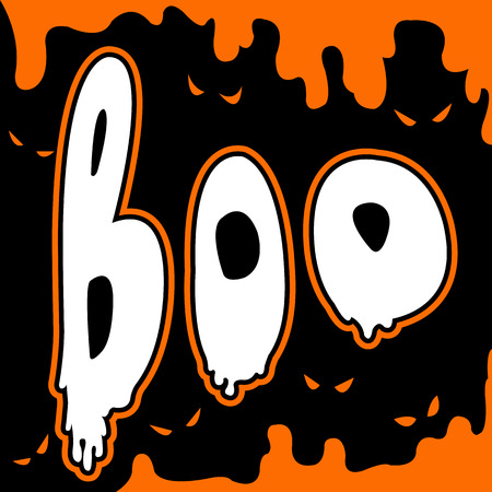 boo happy halloween card comic style Vector