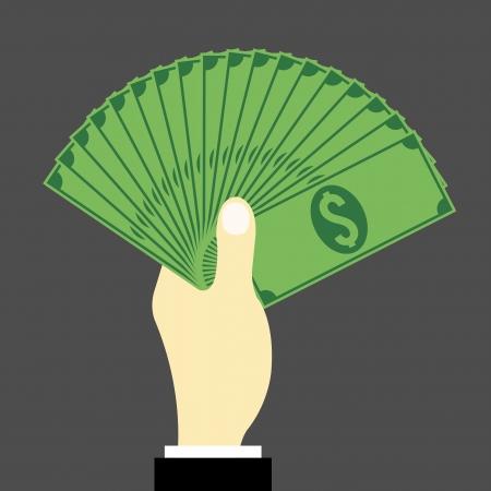 show bill: la mano llena de dinero Vectores