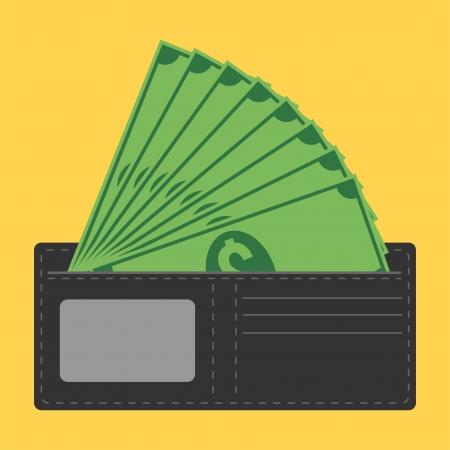 show bill: billetera llena de dinero