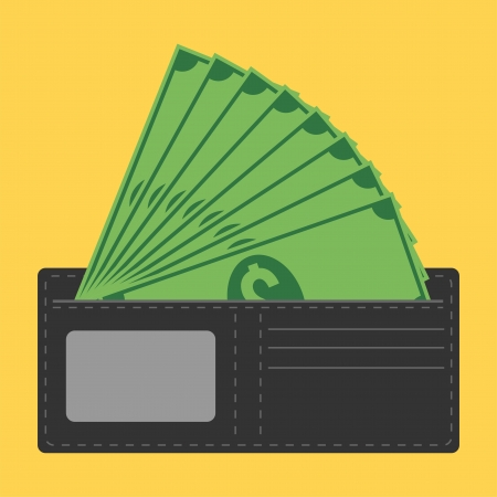 cartoon money: wallet full of money Illustration