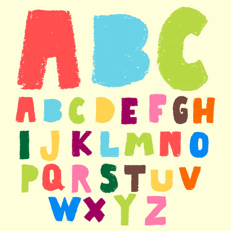 pastel colors: hand drawn colorful ABC fonts  Illustration