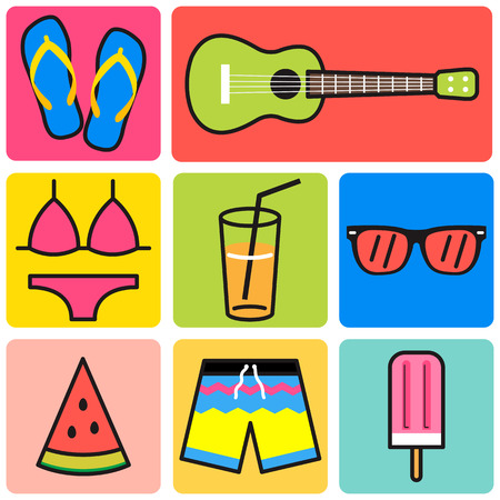 ukulele: summer beach icon set