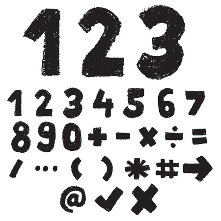 123 black and white color, numeric and symbol, doodle font
