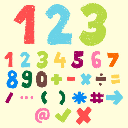 123 pastel color, numeric and symbol, doodle font Illustration