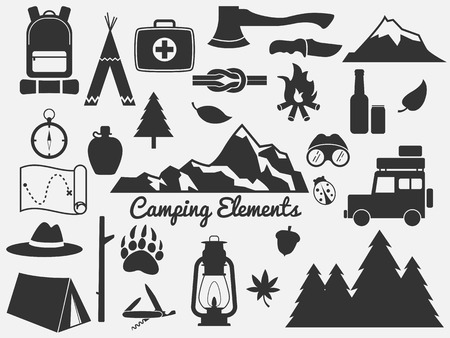 camping elementen, pictogram outdoor Stock Illustratie