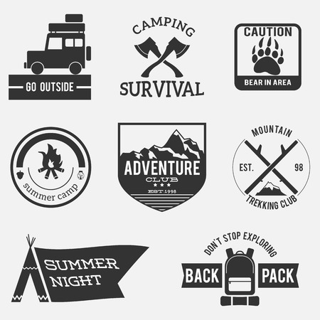 camping badges, premium adventure set, vintage design Vector