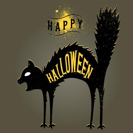 happy halloween card,spooky cat