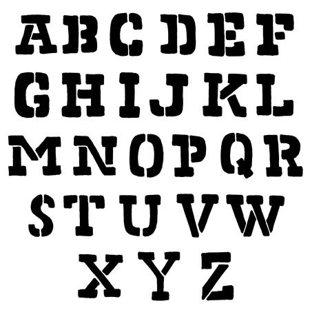 stencil alphabet,hand drawn font