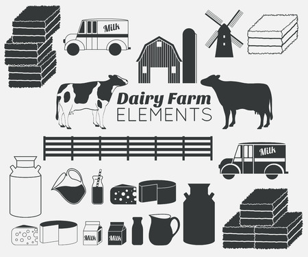 milk products: dairy farm elements,dairy products,milk Illustration