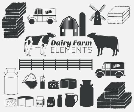 lacteos: elementos agr�colas l�cteos, los productos l�cteos, la leche Vectores