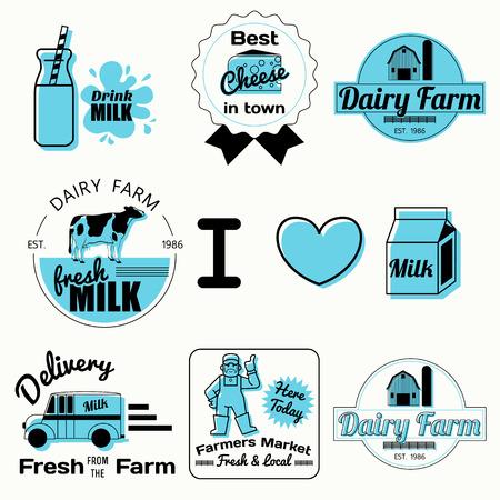 dairy label elements,vintage badges Illustration