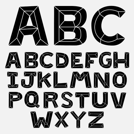 Bevel font black and whitedoodle abc Vector