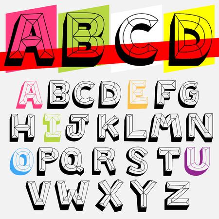 3d transparent doodle font,line and shadow abc