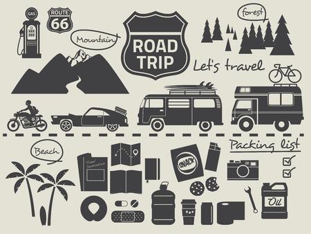 도로 여행 디자인 요소, 여행 아이콘 세트 일러스트