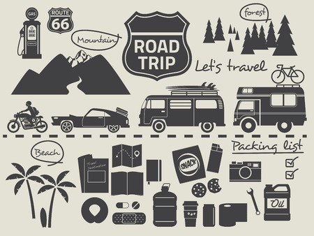 familia viaje: elementos de diseño de viaje por carretera, viaje icono conjunto