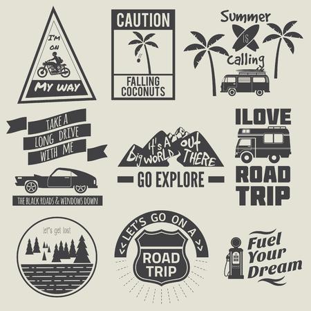 road trip badges,travel quote 일러스트