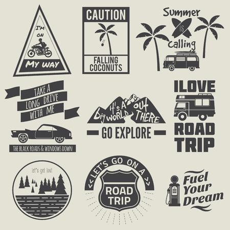 wanderlust: road trip badges,travel quote Illustration