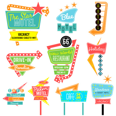old sign: vintage neon sign colorful collection,road trip Illustration
