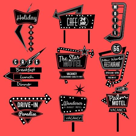 bienvenidos: muestra del vintage de neón, viaje por carretera, negro y viejo cartel whit