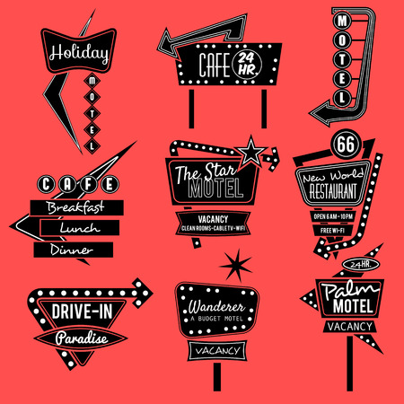 a sign: vintage neon sign,road trip,black and whit old sign Illustration