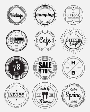 círculo insignias elementos de diseño, la muestra del vintage, plantilla de diseño, etiqueta